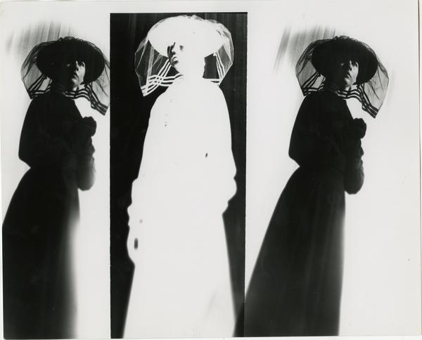 Three views of woman in black with veil over face, one is a negative image, in Theater Arts Department production scene