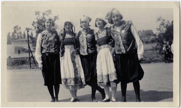 "Mary Woodbridge, Thyra Toland, Betty Allen, and Sara Berlinin ""Pageant of the Sun"" at Vermont campus, ca. 1926"