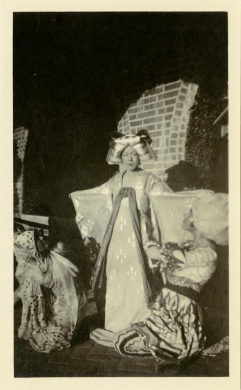 Actress dressed in costume for theatrical performance