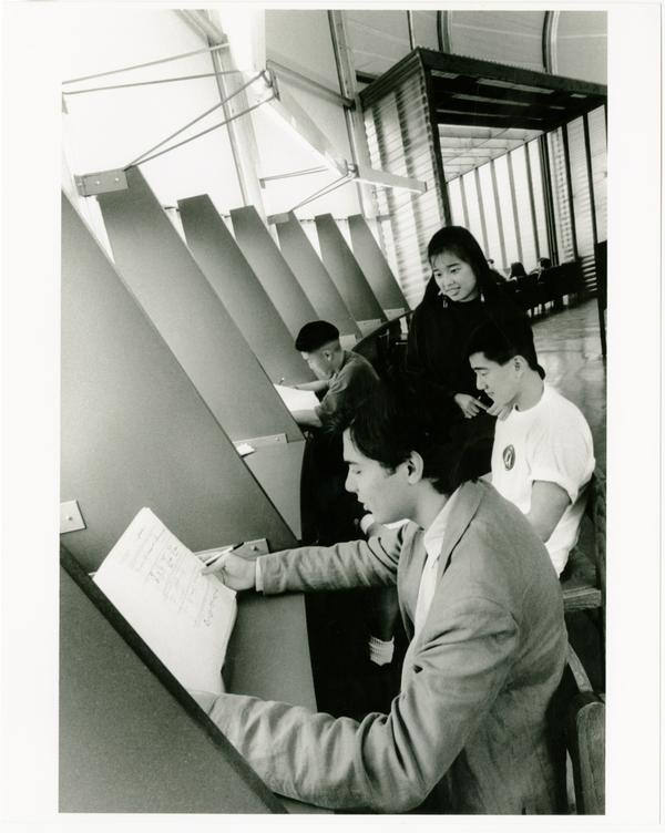 Students studying in Temporary Powell Library