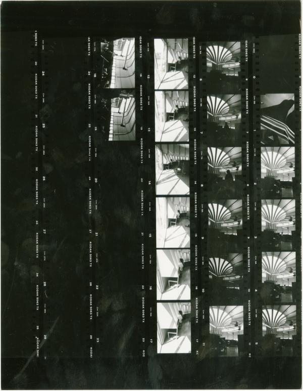 Contact sheet exterior shots of Temporary Powell Library