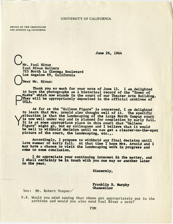 "Copy of letter to Paul Rivas from Chancellor Franklin D. Murphy regarding photographs of ""Tower of Masks"", June 26, 1964"