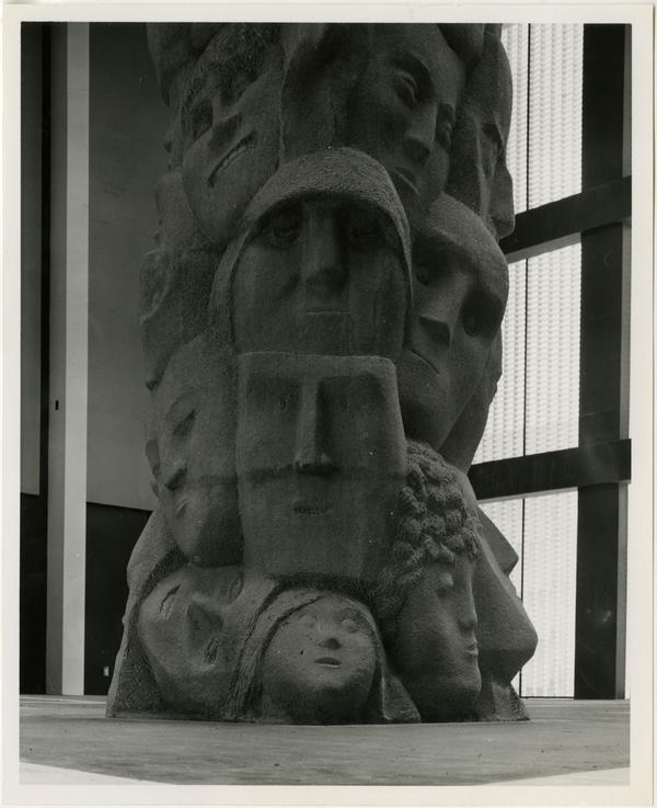 """""""Tower of Masks"""" statue sculpted by Anna Mahler"""