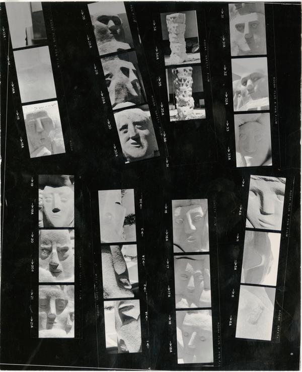 "Contact sheet with multiple shots of ""Tower of Masks"" statue scultped by Anna Mahler"