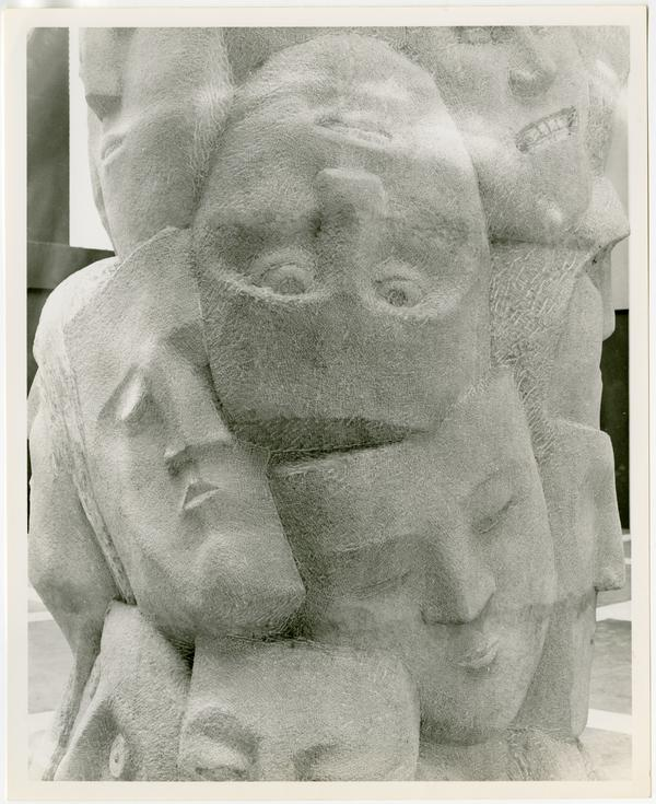 """Close-up of """"Tower of Masks"""" sculpted by Anna Mahler"""