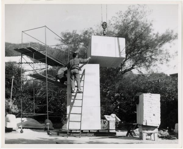Installation of limestone column for Anna Mahler's scultpture
