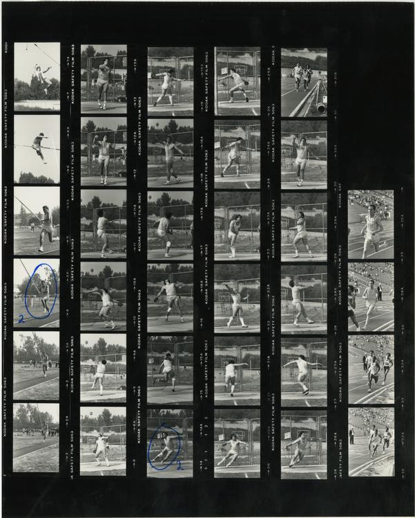 Contact sheet of UCLA track team at Arizona track field March 4, 1984