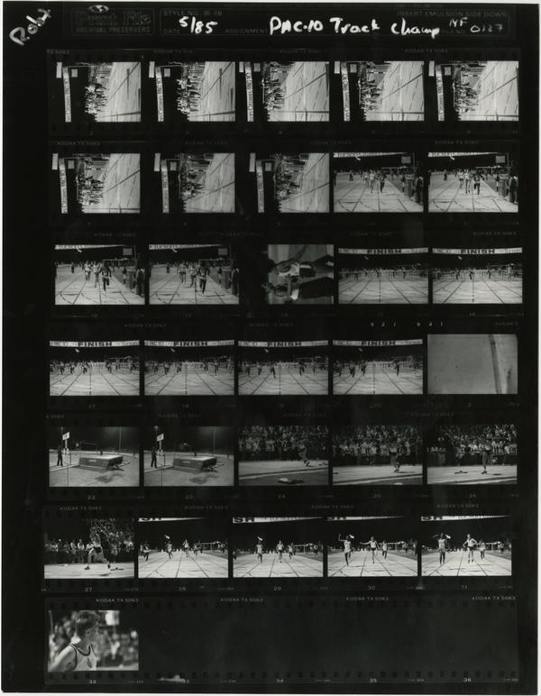 Contact sheet of UCLA track team at PAC 10 championship, May 1985
