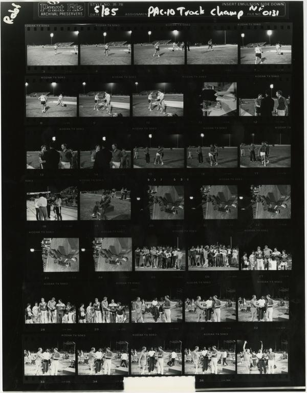 Contact sheet of UCLA track team at PAC 10 championship, May 1985