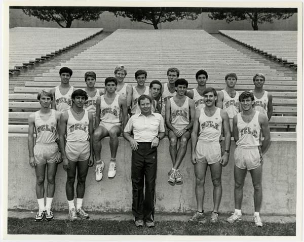 Bob Larsew with 1985 Cross Country Team