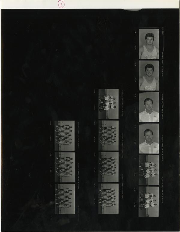 Contact sheet of UCLA track team, November 29, 1984