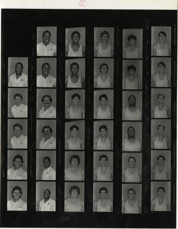 Contact sheet of UCLA track team, November 29, 1984
