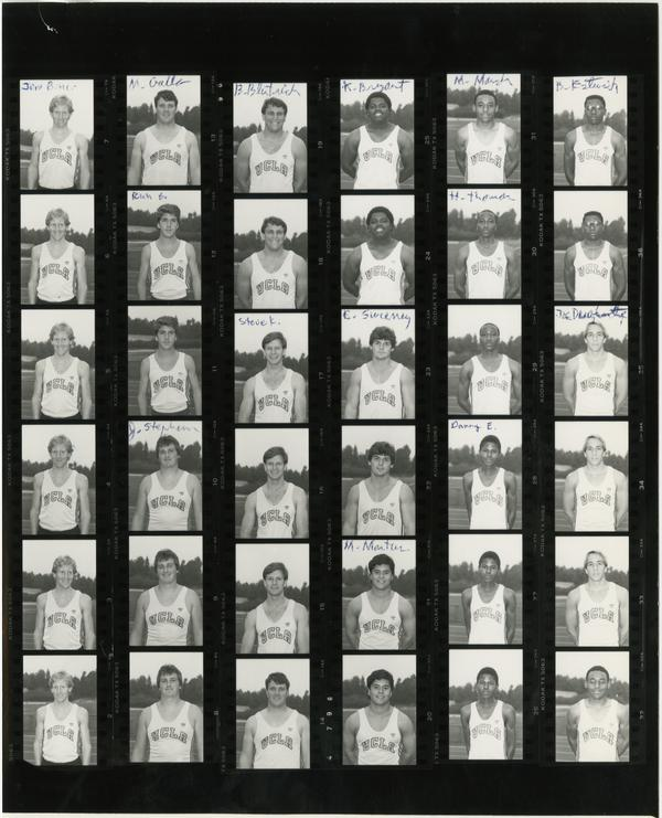 Contact sheet of UCLA track team, October 30, 1985