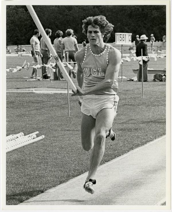 NCAA pole vaulting champ, Mike Tully, ca. 1978