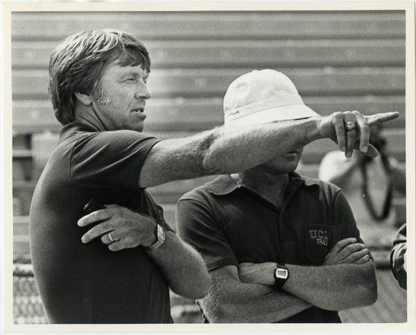 Track team coach Jim Bush