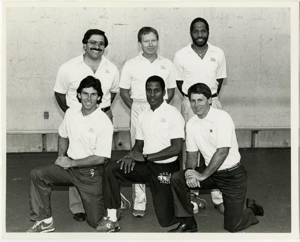 UCLA Track and Field coaches: Asst. Coach Art Venegas, Head Coach Bob Larsen, Asst. Coach Steve Lang, Asst. Coach Anthony Curran, Asst. Coach John Smith and Asst. Coach Alan Rigby