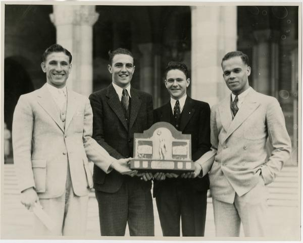 James Lu Valle and other one mile Drake relay champions, ca. 1935