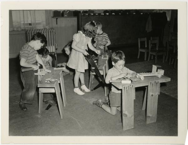 Children working in wood shop of Training School
