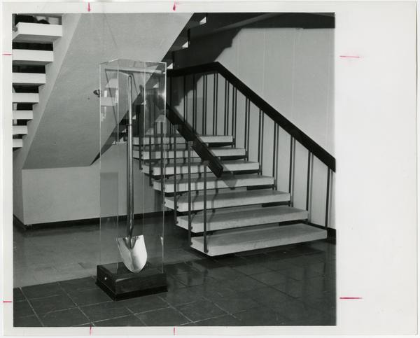 The ceremonial shovel which turned the first earth to construct the UCLA campus, ca. 1975