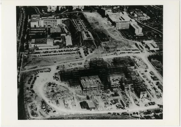Aerial view of UCLA campus under construction