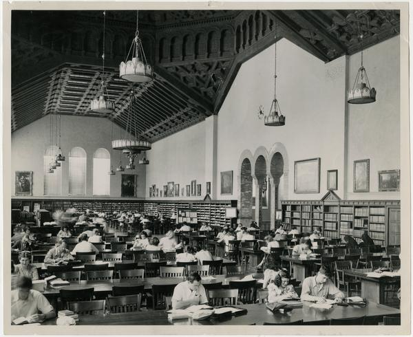 Interior view of Powell Library reading room