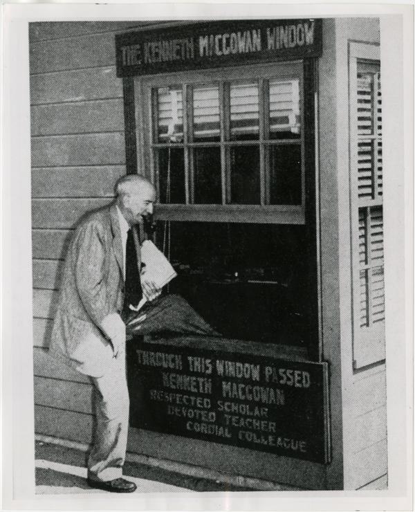 Dr. Kenneth Macgowan walking through The Kenneth Macgowan Window
