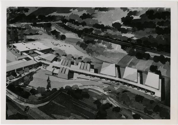 University Elementary School architectural rendering, ca. 1958