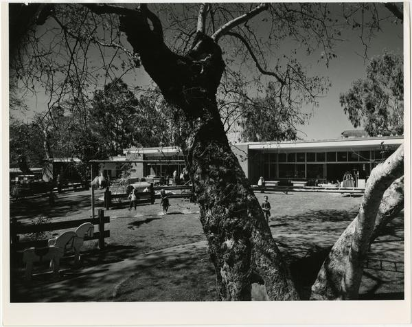 Exterior view of University Elmentary School and outside with treet in foreground.
