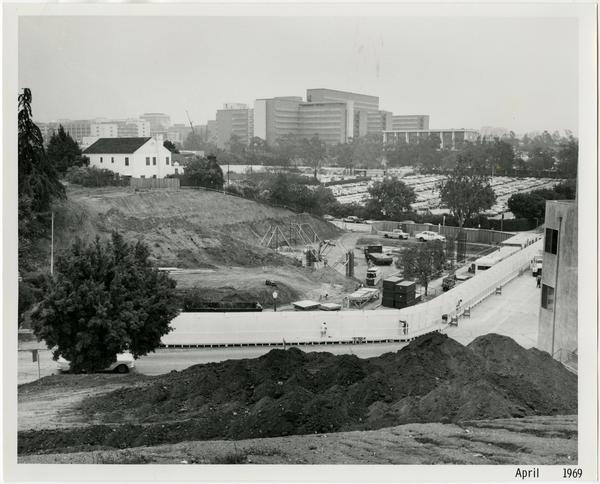 University Extension building during construction, ca. April 1969