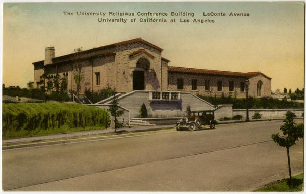 Hand-colored post card of University Religious Conference building located on LeConte Avenue