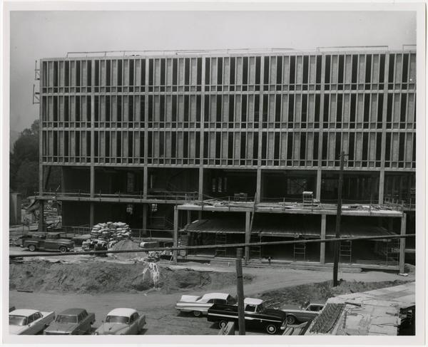 Frontal view of construction of the University Research Library, currently the Young Research Library