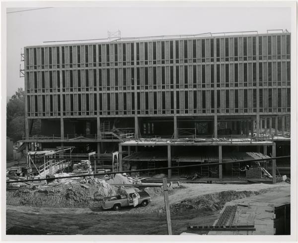 View of construction of the University Research Library, currently the Young Research Library