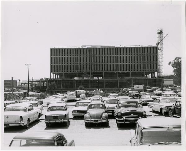 View of parking lot with constructed University Research Library in background