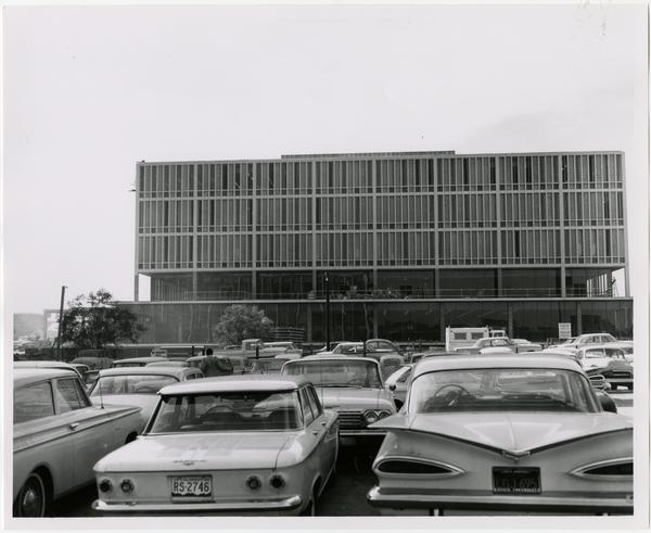 View of University Research Library from parking lot