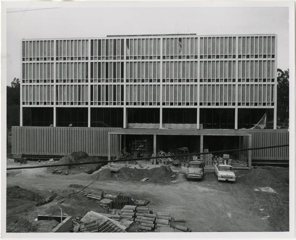 Frontal view of the construction of the University Research Library, December 1963