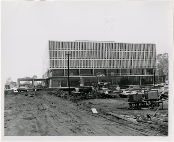 Side view of the construction of the University Research Library, December 1963