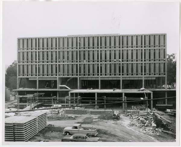 Frontal view of the University Research Library under construction