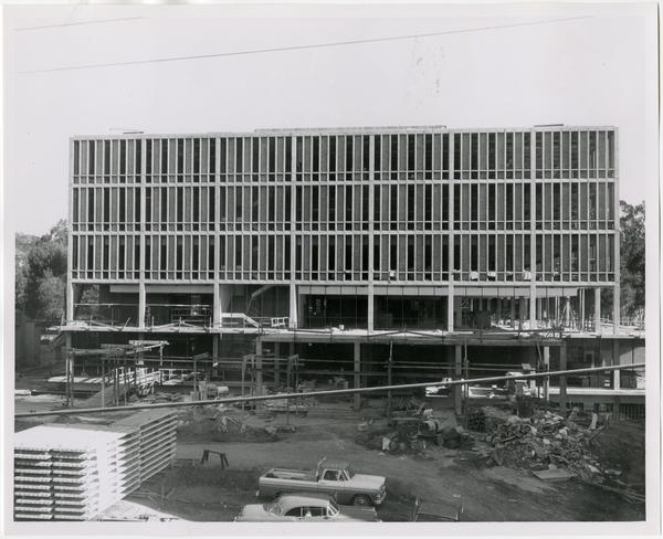 Front exterior view of the University Research Library under construction, September 6, 1963