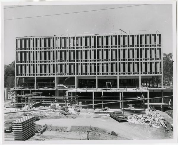 Front exterior view of the University Research Library under construction, August 27, 1963