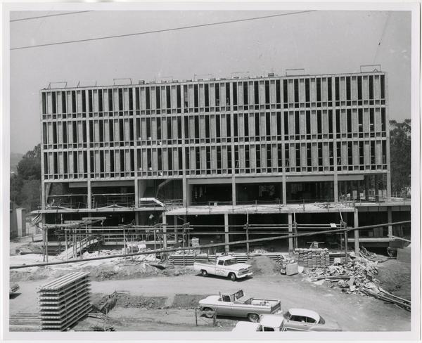 Front exterior view of the University Research Library under construction, August 30, 1963