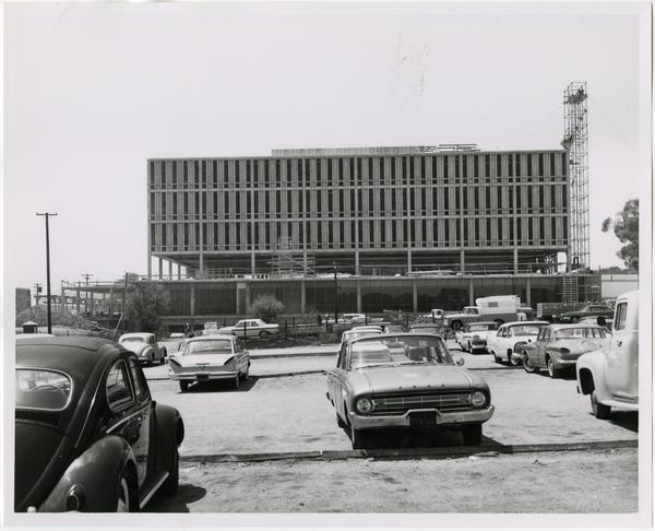 Front exterior view of the University Research Library under construction, August 16, 1963