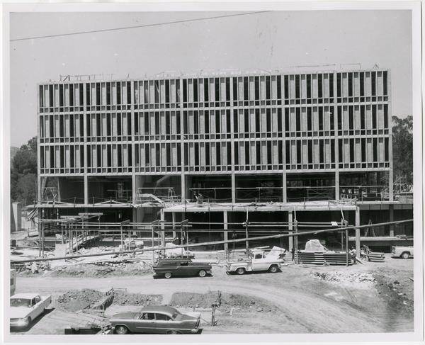 Front exterior view of the University Research Library under construction, August 9, 1963