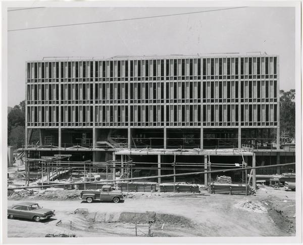 Front exterior view of the University Research Library under construction, July 26, 1963
