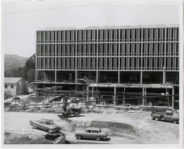 Front exterior view of the University Research Library under construction, July 19, 1963