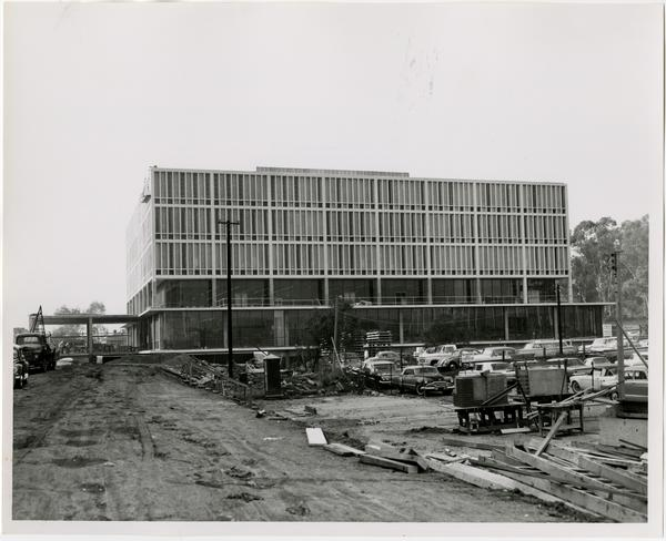 Front exterior view of the University Research Library under construction, November 15, 1963