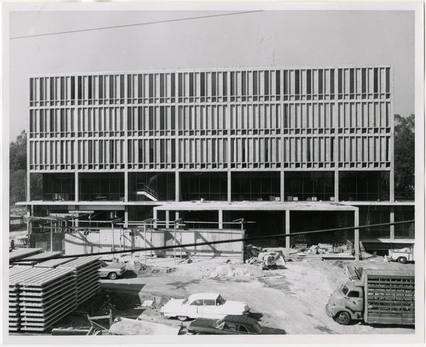 Front exterior view of the University Research Library under construction, October 25, 1963