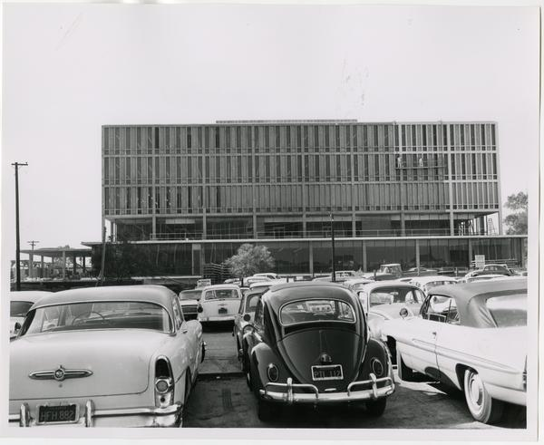 Front exterior view of the University Research Library under construction, October 18, 1963