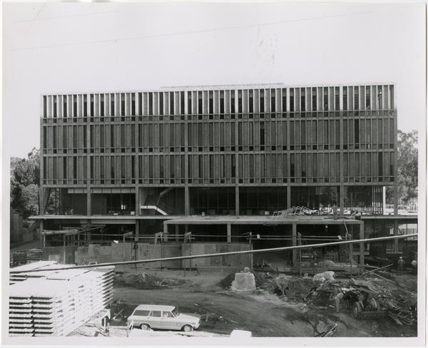 Front exterior view of the University Research Library under construction, October 4, 1963
