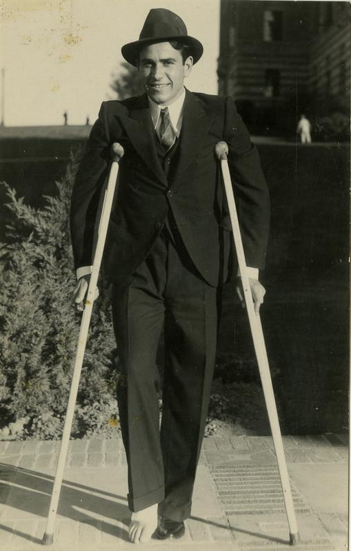 Unknown man with crutches