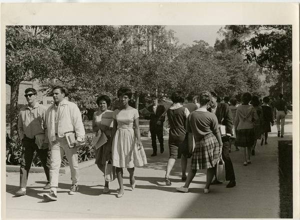 Students walking to class, ca. 1960s